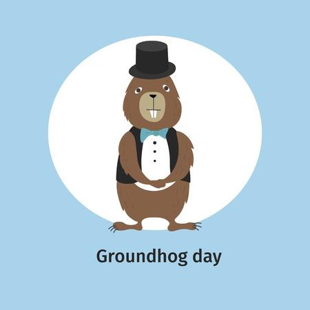 Vector illustration. Greeting card. Groundhog Day. Cartoon character.