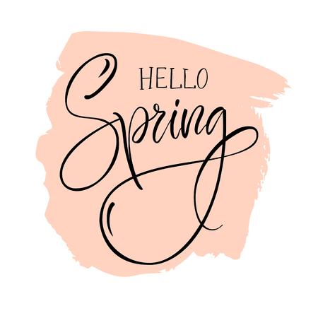 "Vector illustration. Modern calligraphy brush. Lettering. The phrase ""Hello Spring""."