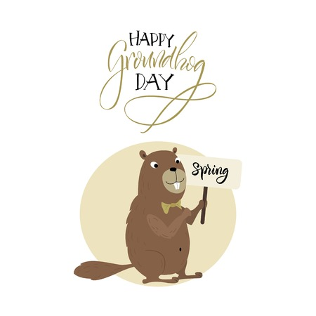 burrow: Vector illustration. Greeting card. Groundhog Day. Cartoon character.