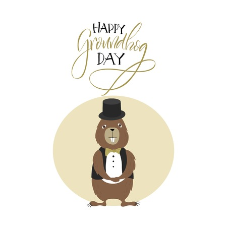 prediction: Vector illustration. Greeting card. Groundhog Day. Cartoon character.