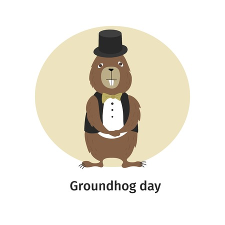 Vector illustration. Greeting card. Groundhog Day. Cartoon character.
