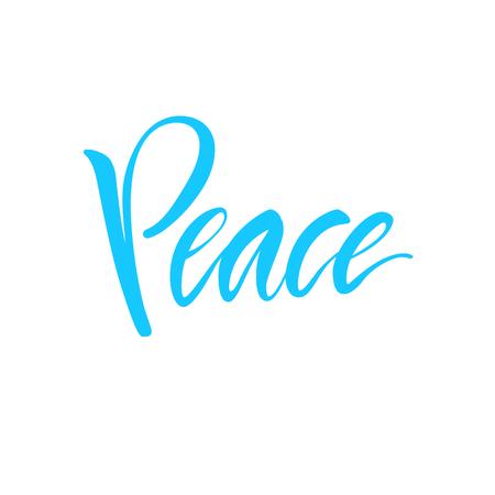 Vector illustratie. Kalligrafie. Belettering. Script logo. Woord: vrede.