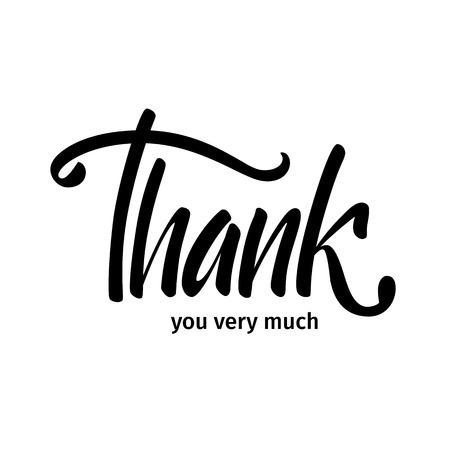 """Illustrazione vettoriale Carta. Manifesto. La frase """"Grazie mille."""" Grazie. Scritte a mano Pennello per calligrafia."""
