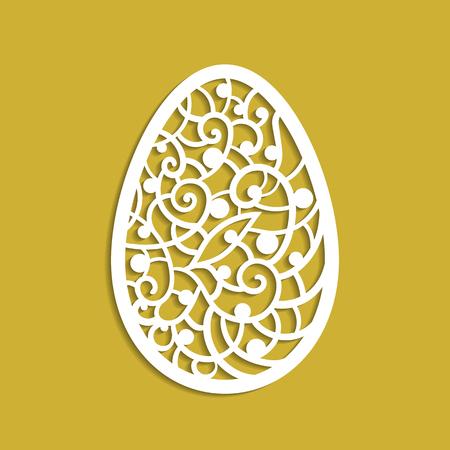 perforated: Vector illustration. Template for laser cutting. Easter egg. Decorative element. Illustration