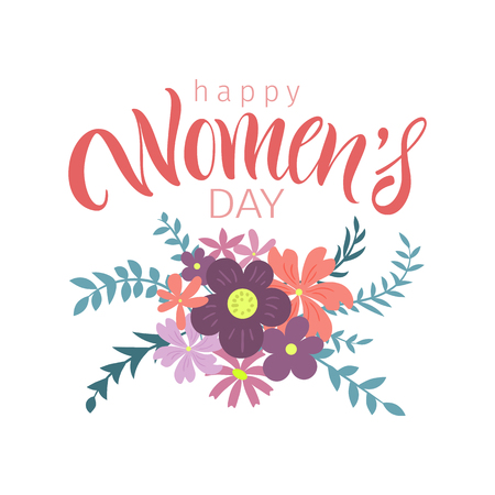 Vector illustration. Greeting card with International Womens Day.