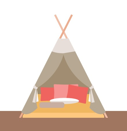Vector illustration. Tent-hut for childrens games.Element for graphic design. Flat style. Illustration