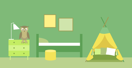 Vector illustration. Interior of the childrens room. A set of elements for graphic design. Flat style. Illustration