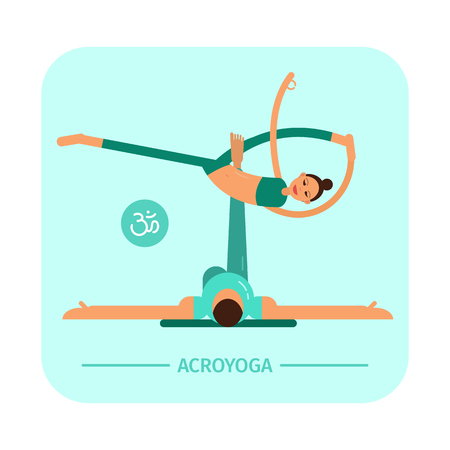 Vector illustration. Akroyoga. Asana. A man and a woman are engaged in yoga. Flat characters. Illustration