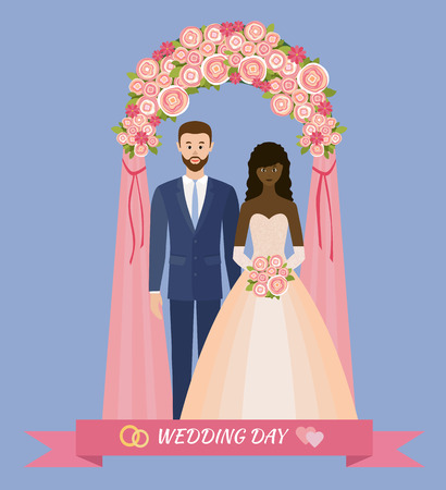 Wedding day. Bride and groom standing in wedding arch. Couple in love. Style flat.