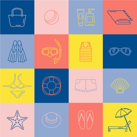 flippers: Line icons. Beach accessories. Illustration