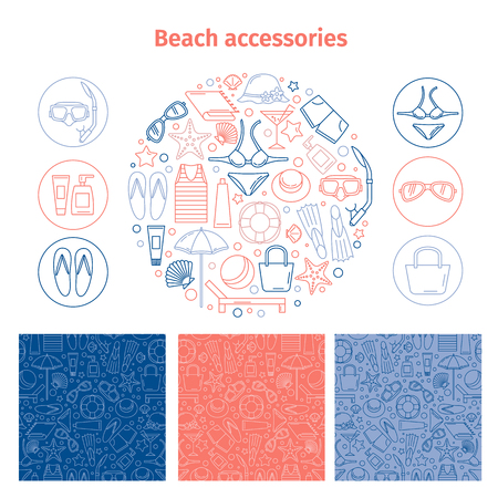 Beach accessories. A set consisting of a round emblem, 3 patterns and icons. Line style.