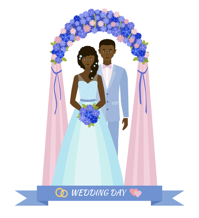 wedded: Wedding day. Bride and groom standing in wedding arch. Couple in love. Style flat.
