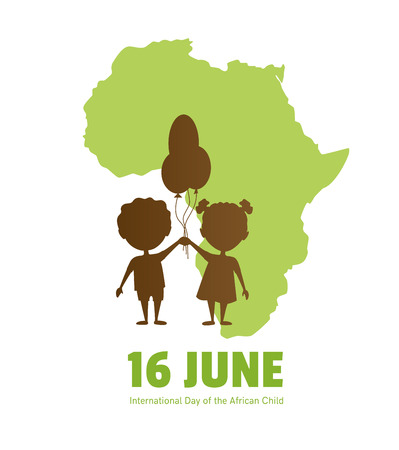 International Day of the African Child.16 June.African children on a background map of the African continent.Silhouettes of children. 向量圖像