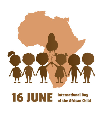 International Day of the African Child 16 June, African children on a background map of the African continent, Silhouettes of children. Illustration