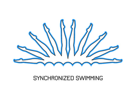 Sport. Synchronized swimming. Group performance of synchronized swimmers. Logo.  Line style.