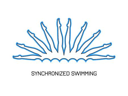 Sport. Synchroon zwemmen. Groep prestaties van gesynchroniseerde zwemmers. Logo. Line-stijl.