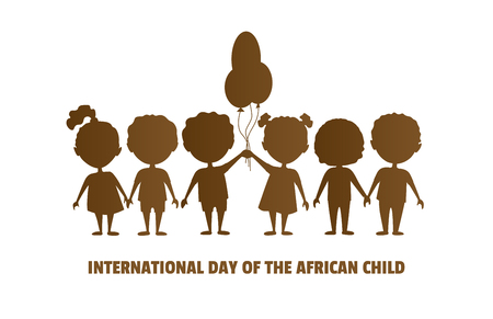 International Day of the African Child.16 June.Silhouettes of children.