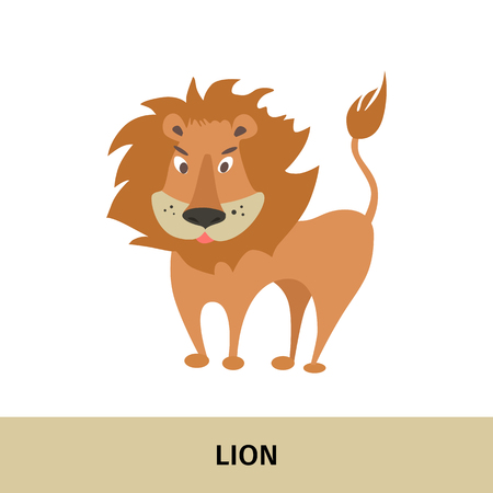 Vector illustration. Card with the image and name of the animal.Lion Illustration