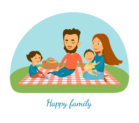 familia feliz vector illustration.A. Cámping. Picnic. Una familia. Personajes de caricatura
