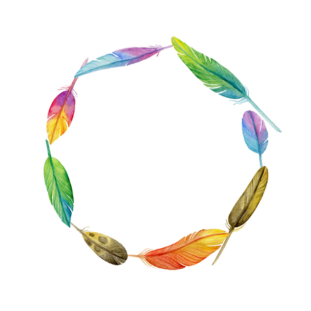 Watercolor wreath made of feathers. Decorative frame. Boho style.