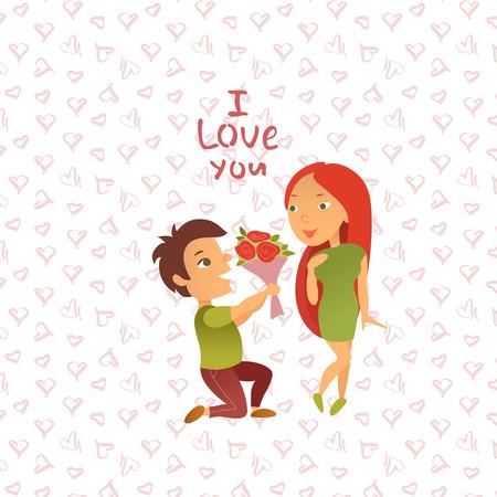Vector illustratie. Wenskaart met Valentijnsdag vakantie. Ansichtkaart met de afbeelding van verliefd paar. De mens bekent een meisje lief te hebben. Stripfiguren.