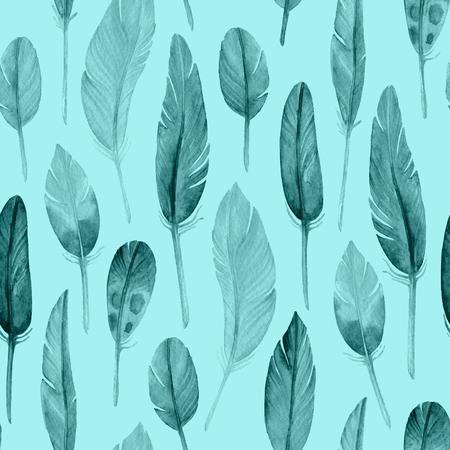 Aquarel naadloze patroon met veren. Boho stijl. Patroon voor behang, stof, inpakpapier en andere.