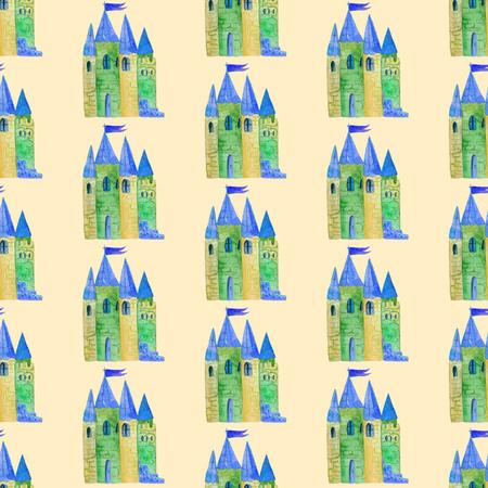 Waterverf naadloos patroon met een beeld van een sprookjeskasteel. Voor grafisch ontwerp, druk voor verpakkend document, stof, textiel, kleding. Stockfoto