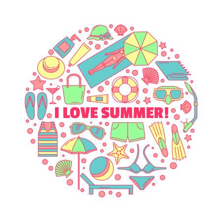 Het ronde embleem rond het thema zomer-, zee- en strandvakantie. Strandaccessoires. Gemaakt in een lineaire stijl. Geschilderde versie.