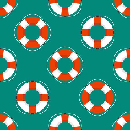 Mariene naadloze patroon met het beeld van een levendboei platte stijl.