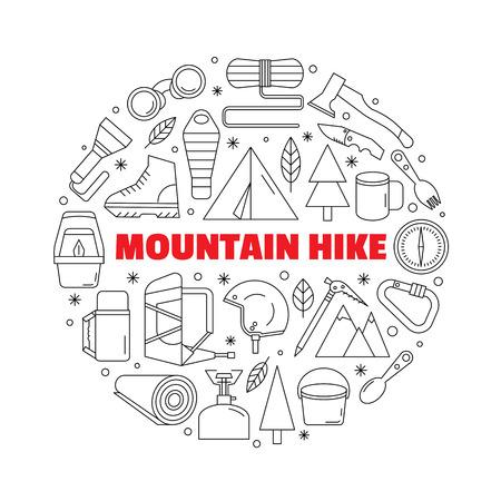 Logo voor overhemden. Zwart-wit cirkelvormig logo met een afbeelding van uitrusting voor bergwandelen en wandelen. Gemaakt in een lineaire stijl.