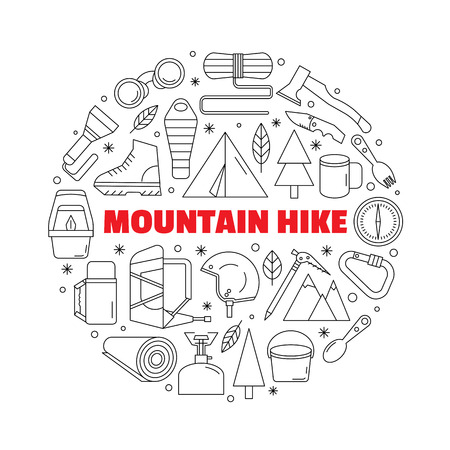 Logo for shirts. Black-and-white circular logo with a picture of equipment for mountain hiking and trekking. Made in a linear style. Illustration