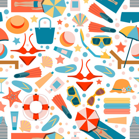 Seamless pattern on summer beach holiday. Beach accessories. Man and woman on the beach. Flat style.