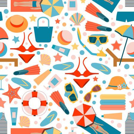 Naadloos patroon op de vakantie van het de zomerstrand. Strandaccessoires. Man en vrouw op het strand. Vlakke stijl.