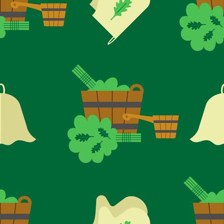 Naadloos patroon met de afbeelding van accessoires voor het bad en de sauna. platte stijl