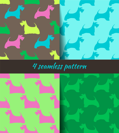 4 seamless pattern with the image dogs. Scottish terrier. Set of multicolored patterns.