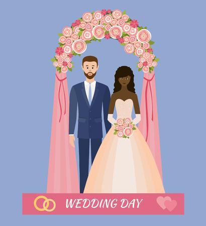 Trouwdag. Huwelijk tussen verschillende rassen. Bruid en bruidegom die zich in huwelijksboog bevinden. Verliefd. Stijl plat.