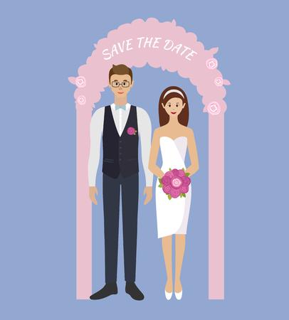 Trouwdag. Bruid en bruidegom staan in trouwboog. Paar verliefd. Stijl plat. Stock Illustratie