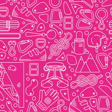 webbing: Pink and white seamless pattern with image of climbing equipment. Completed in linear style.