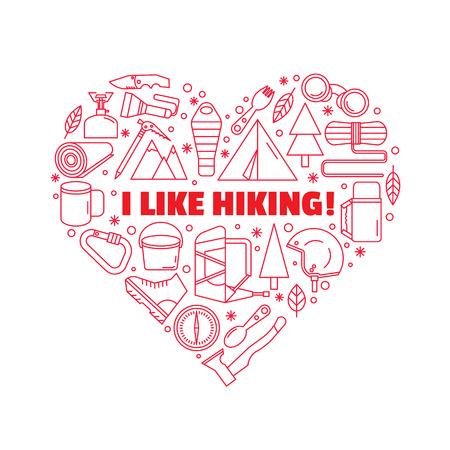 logo voor T-shirts. Rood, hartvormig logo. Uitrusting om te wandelen en bergbeklimmen. Lijnstijl. Stock Illustratie