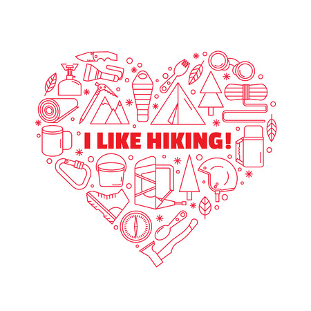 logo for T-shirts. Red heart-shaped logo. Equipment for hiking and mountaineering. Line style.