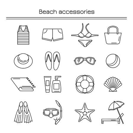 Accessoires voor een strandvakantie. Strandtoebehoren. Lineaire iconen.