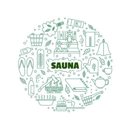 Het logo met de afbeelding van accessoires voor baden en sauna's. Voltooid in lineaire stijl. Stock Illustratie
