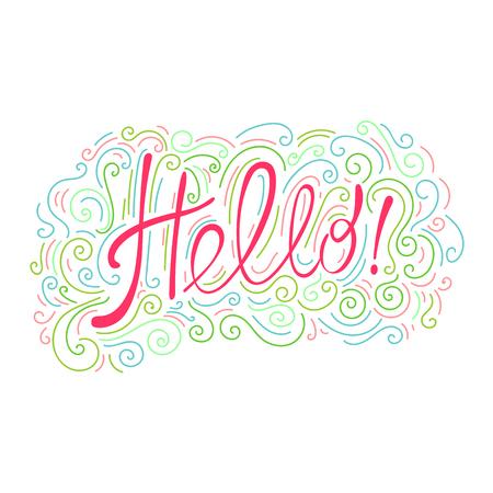 "Lettering ""Hallo!"". Briefkaart dat zegt ""Hallo!"" en ornament."