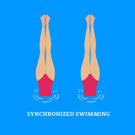 coordinacion: Natación sincronizada. Actuaciones sincronizadas nadadores sincronizados. Ilustración de un estilo plano. Vectores