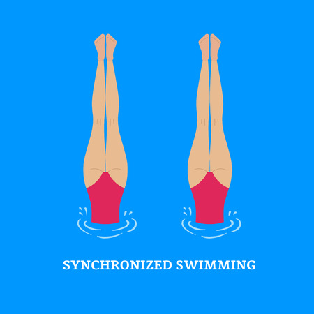 group fitness: Synchronized swimming.Paired performances synchronized swimmers.Illustration of a flat style.