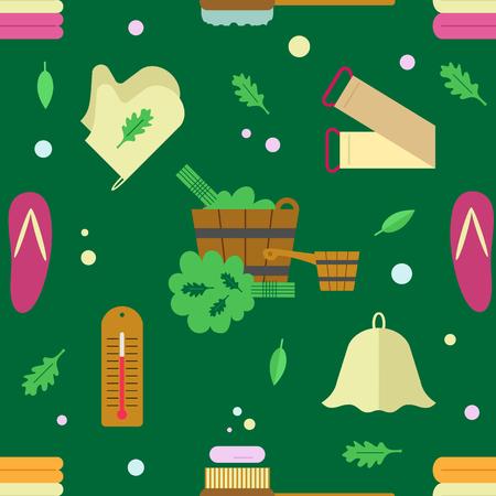 Naadloos patroon met de afbeelding van accessoires voor baden en sauna's. Platte stijl.