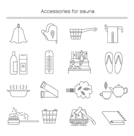 Lineaire iconen met de afbeelding van accessoires voor baden en sauna's. Stock Illustratie