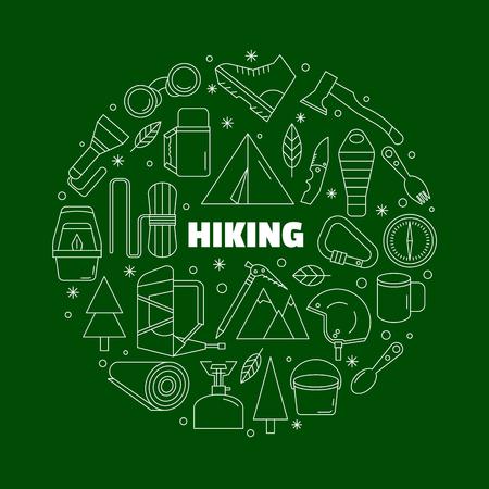 Logo voor overhemden. Groen en wit rond embleem met de uitrusting voor een wandeling. Gemaakt in een lineaire stijl. Stock Illustratie