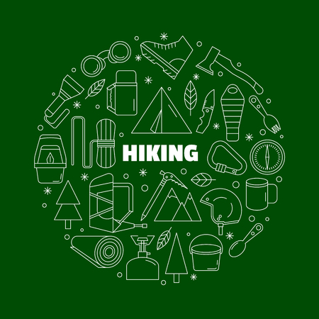 Logo for shirts. Green and white round emblem with the equipment for a hiking. Made in a linear style.