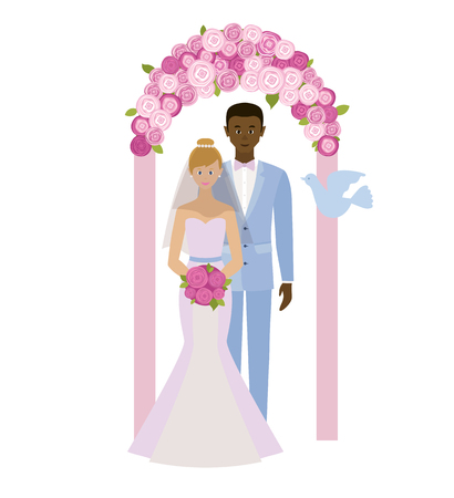 interracial: Wedding day. Interracial marriage. Bride and groom standing in wedding arch. Couple in love. Style flat.